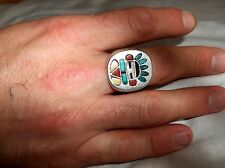 Vintage Franck Vacit Zuni Kachina head inlay 925 sterling sz 11 men's ring 18g