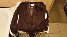 Ann Summers Vegas Wine Lace Long Sleeve Body With Broach Size 14 New With Tags