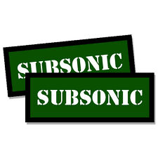 "SUBSONIC Ammo Can GREEN 2x Labels Ammunition Case 3""x1.15"" sticker decals 2 pack"