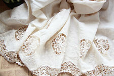 White Eyelet Cotton Lace Fabric Lace Trim Embroidery Bilateral Lace Scarf