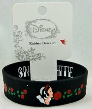 Disney Princess Snow White with Red Roses Black Rubber Bracelet New