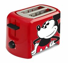 Disney Mickey Mouse 2 Slice Toaster, Red/Black Small Kitchen Accessories NEW