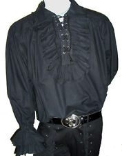 NEW Adam Ant/ Goth Costume Mens Black Ruffle Cotton Shirt, XXXL