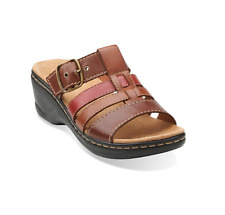 Clarks Lexi Alloy Slide Strap Sandals Brown Tan Leather Size 9 M Brand New w Box