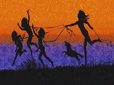PAINTING SURREAL FANTASY SILHOUETTE SGHADOW CHILDREN DOG COOL POSTER LV2904