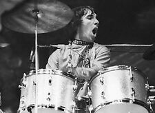 KEITH MOON ON THE DRUMS THE WHO ROCK BAND GROUP GLOSSY MUSIC 8X10 PHOTO PICTURE