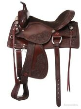 20 Inch Western Old Time Trail Saddle - Dark Oil Leather
