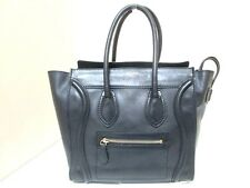 Authentic CELINE Black Luggage Micro Shopper Leather Tote Bag with Dust Bag