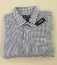 New w Tags AUTHENTIC Vilebrequin  Short Sleeve White & Blue Linen Shirt Men 4XL