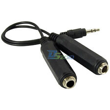 20cm 3.5mm Male to 2x 6.35mm Female Jack Audio Splitter Cable Adapter Black NEW