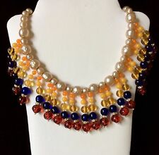 Miriam Haskell Signature Baroque Pearl Vintage Bib Necklace w Blue/Red -AWESOME-
