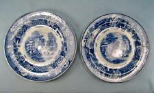 2 English Scenery Blue Bread & Butter Plates Wood & Sons Blue Transferware (O2)