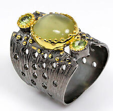 Unique Handmade Lemon Quartz .925 Sterling Silver Ring Size 7.5