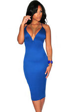 Sexy Blue Plunging V Neck Halter Lace-Up Midi Party Club Dress