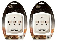 2 Of 3 AC Outlet Wall Mount Surge Protector Adapter with Dual USB Charging Port
