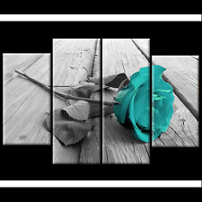 Black White Teal Rose Floral Canvas Wall Art Pictures Wide XL Print Flower Gift
