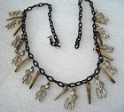 "Vintage early plastic wood metal ""good luck"" charms art deco necklace"