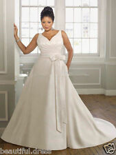 Plus Wedding Dress V-Neck Satin Bridal Gown Custom all Size 18 20 22 24 26+28+30