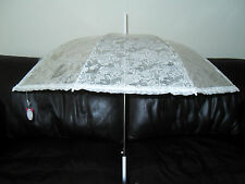 Gorgeous Frilled Ivory Wedding Heart Flower Print Design Umbrella Parosol Races