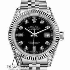 Classic Rolex 31mm Datejust Black 8 + 2 Diamond Face & Shoulders Stainless Steel
