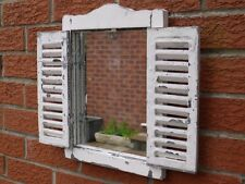 Shabby Chic Garden Mirror Window small French country aged look White Wash 40CM