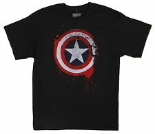 Marvel Comics Mad Engine Black Captain America Tee Size L 100% Cotton T-Shirt