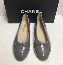Chanel Classic CC Logo Grey Patent Leather Ballerina Ballet Flats Shoes 39