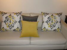 Gray & Yellow Embossed Soft Plush Velvet Reversible Cushion Covers 45cm Au Made