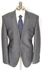 New HUGO BOSS Sweet Grey Herringbone Wool Silk 2Btn Coat Jacket 56 46 46R