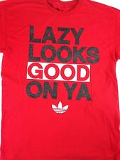 Adidas Originals T-Shirt Lazy Looks Good On Ya Mens Large Red Cotton Basketball