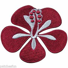 Flower Hibiscus Plant Bright Purple Exotic Hawaii Girl Rider Iron on Patch #1126
