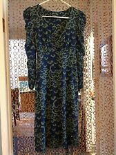 Betsey Johnson Knit Dress~3/4 sleeves~navy and green~ Sz. S~ VGUC
