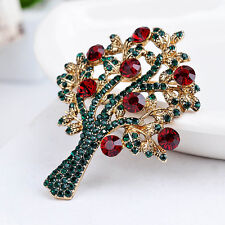 Vintage Alloy  Tree Brooch Gold Plated Rhinestone Christmas Scarf Pins Jewelry