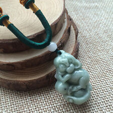 Hand-Carved Pig Certified Grade A Natural Icy Green Jadeite Jade Pendant 40396