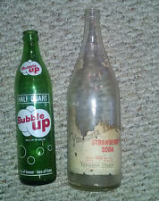 Lot 2 Vintage Antique Glass Bottles - Bubble-up & Virginia Dare Strawberry Soda