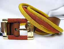 "$450 Burberry Prorsum Keyla Golden Ochre Women 100cm 39.5"" Leather Acetate Belt"