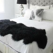 DUO DOUBLE MONGOLIAN TIBETAN LAMBSKIN SHEEPSKIN HIDE PELT FUR BED RUNNER BLACK