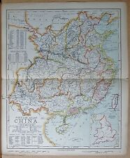 "1883  LARGE ANTIQUE MAP CHINA, LIST OF ""TREATY PORTS"", PROVINCES"