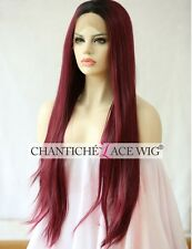 Front Lace Wig Ombre Burgundy Synthetic Hair Long Natural Straight Heat Friendly
