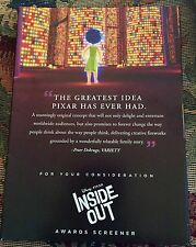 Inside Out : Disney Pixar DVD -For Your Consideration FYC Awards Screener - New