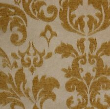 "Jacquard  Gold Damas scarlet Upholstery and Drapery fabric per yard  56"" wide"