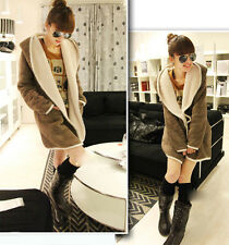 Hot Women Warm Hooded Fluffy Fleece Faux Fur Coat Poncho Jacket Two-sided Wear