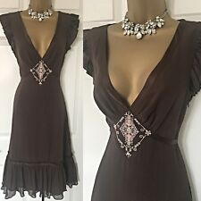 Ted Baker DRESS SIZE 10 (2) Brown Silk Occasion Evening Party Races,