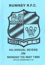 RUMNEY RFC (4th ANNUAL) RUGBY SEVENS PROG 1990 Rumney, St Peters, Glamorgan Cty