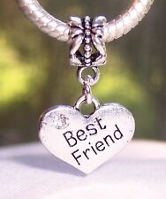 Best Friend Rhinestone Heart Gift Dangle Bead for Silver European Charm Bracelet