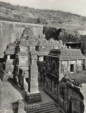 1928 Original INDIA Ellora Kailasa Temple Shrine Architecture Photo By HURLIMANN