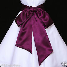Self-Tied Wedding Flower Girl Dress Sash Waistband Belt 12M 2 4 6 8 10 12 14 16