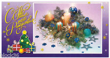 Modern Russian card HAPPY NEW YEAR and MERRY X- mas Decoration with candles
