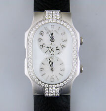 Philip Stein Teslar Chip 72 Diamond Bezel Steel Watch Dual Timezone MOP Oprah