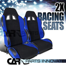 PAIR JDM T-R STYLE BLACK/BLUE RACING SEATS RECLINABLE